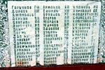Мраморные плиты с фамилиями: левая часть