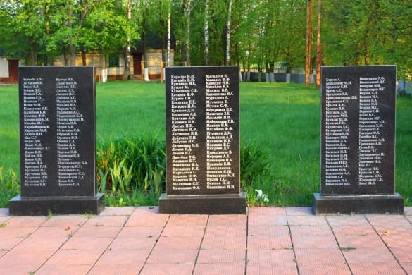 Воинское захоронения с. Протасово Малоархангельского района в 2015 году. Мемориальные плиты с фамилиями, средняя часть.