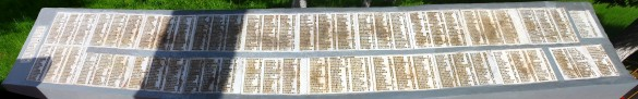 Мемориальные плиты с фамилиями. Центральная часть.