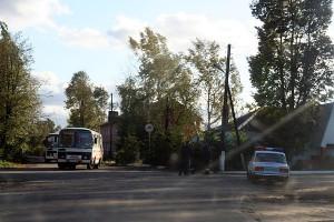 Пост ГИБДД на въезде в Малоархангельск