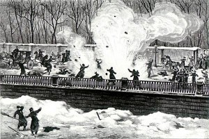 Покушение на императора Александра II 1 марта 1881 года. Рис. А. Бальдингера