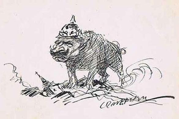 Карикатура на кайзера Вильгельма (Kaiser Wilhelm), 1915 г. Автор неизвестен.