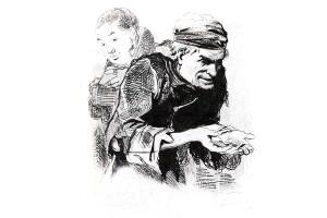 """Плюшкин. Иллюстрация Агина А. А. к поэме Н. В. Гоголя """"Мёртвые души"""". 1846 — 1847."""