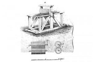 Мялка. Иллюстрация из книги «Исследование состояния пеньковой промышленности», 1852 год