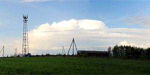 Панорама местности неподалёку от въезда в село Первая Ивань Малоархангельского района. Нажмите на изображение, чтобы перейти к осмотру (откроется в новом окне).