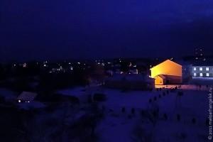 Ночной Малоархангельск с ёлкой на площади.