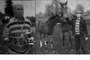 Слева — Сергей Абакумов с наградами, справа он же со своими питомцами Вестью и Вельможей.