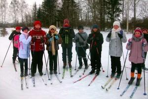 Лыжники, коллективное фото. Январь 2012 года.