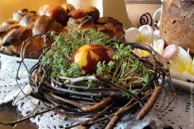 Пасхальное яйцо в корзиночке.