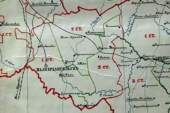 Карта Малоархангельского уезда в границах 1866 года.