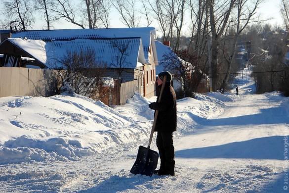 Малоархангельск, декабрьская дорога в городе.
