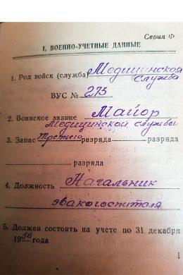 Военный билет Владимира Ченцова