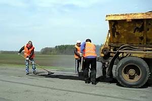 Ямочный ремонт автодороги на Колпну.