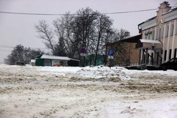 Центр Малоархангельска в феврале 2014 года.