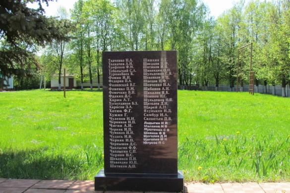 Памятная плита с фамилиями на мемориале в Протасово.