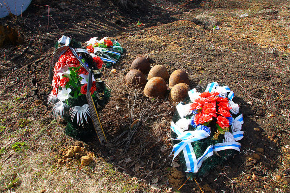 Одно из захоронений за мемориалом Протасово.