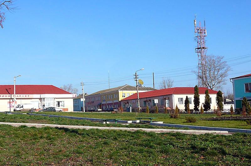 Вид центра города из парка