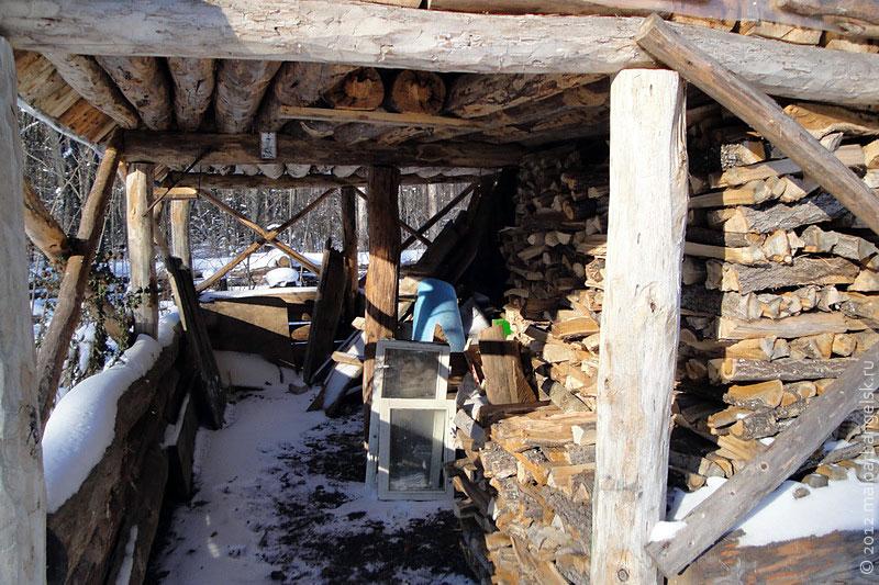 В дровяном сарайчике, дров, по подсчёту лесников, на месяц.