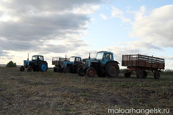 3 трактора МТЗ-80(82) с прицепными устройствами (тележками)