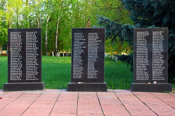 Воинское захоронения с. Протасово Малоархангельского района в 2015 году. Мемориальные плиты с фамилиями, правая часть.