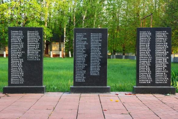 Воинское захоронения с. Протасово Малоархангельского района в 2015 году. Мемориальные плиты с фамилиями, левая часть.