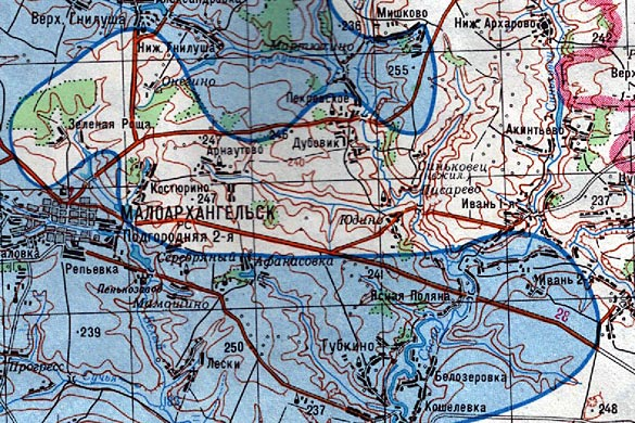 Карта радиоактивного загрязнения местности (цезием-137)