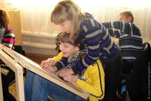 На занятиях в Малоархангельской художке