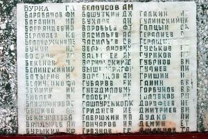 Мемориальная плита с фамилийей Бурка воинского захоронения в д. Удерево Малоархангельского района Орловской области.