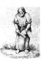 Крестьянин обрабатывает коноплю