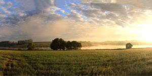 Панорама пруда Новый Беленький в Малоархангельске, август, утро. Нажмите на изображение, чтобы перейти к осмотру (откроется в новом окне).