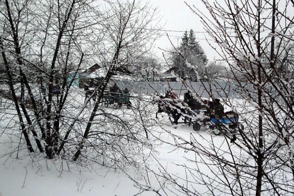 Санный поезд в Малоархангельске.