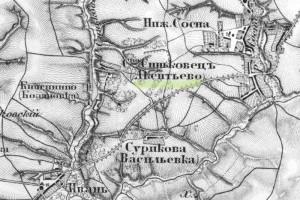 Акентьево на карте Шуберта, 1860 год.