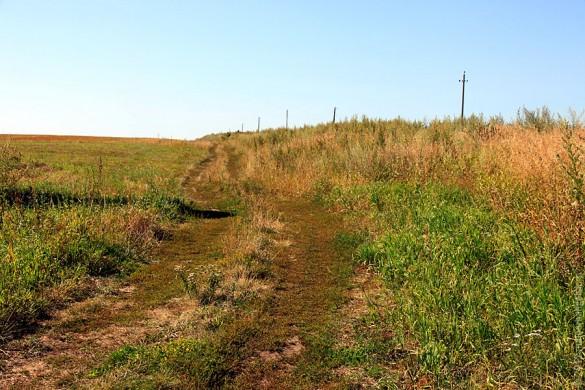 Дорога к Каменке идёт внизу насыпи.