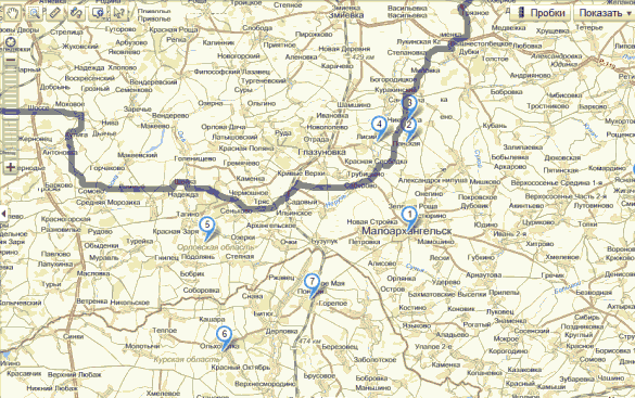 Совмещённая карта: линия фронта на 6 марта 1943 года.