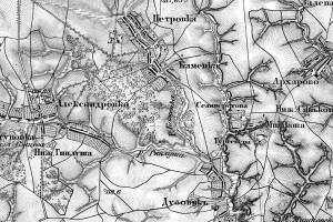 Деревня Каменка и её окрестности на карте Шуберта.