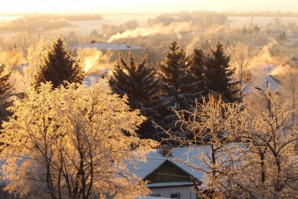 Золотистое утро 6 января 2014 года в Малоархангельске.