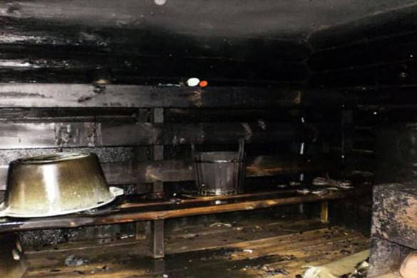 Баня после пожара.