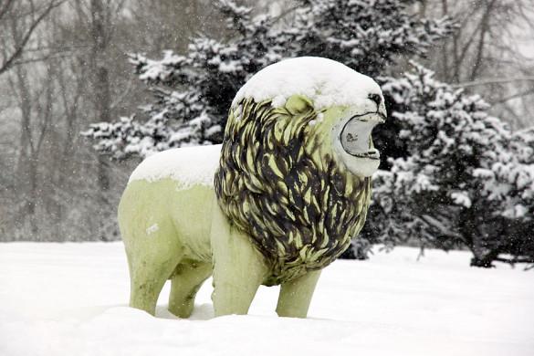 Снежный лев в Малоархангельске.