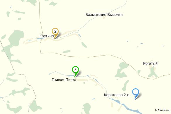 Карта расположения магазинов.