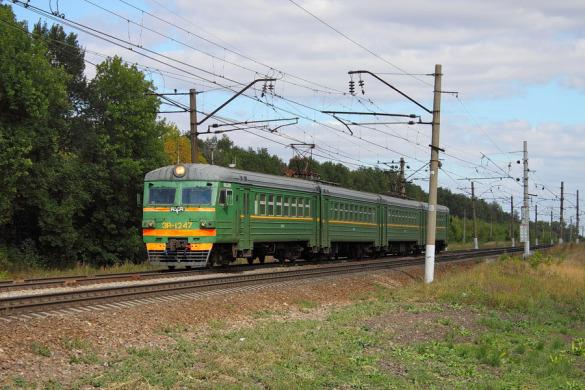 Перегон Глазуновка — Малоархангельск, ЭР2-1247. Автор: Sherman, 2014 год.