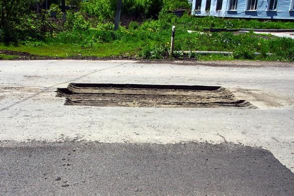 Дорожный ремонт в Малоархангельске.
