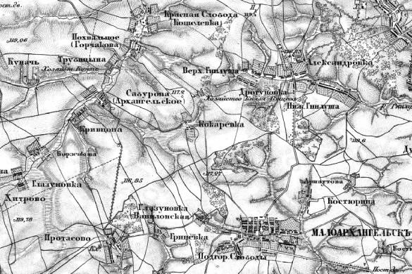 Деревня Кокорева на карте Шуберта.