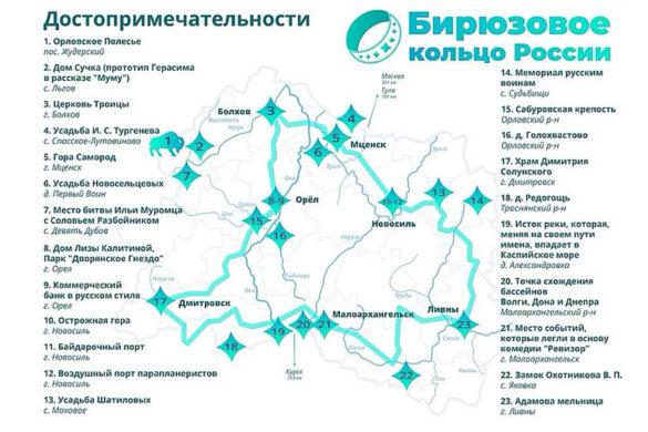 Бирюзовое кольцо России: достопримечательности на карте.