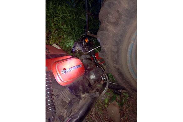 ДТП трактор и мотоцикл.