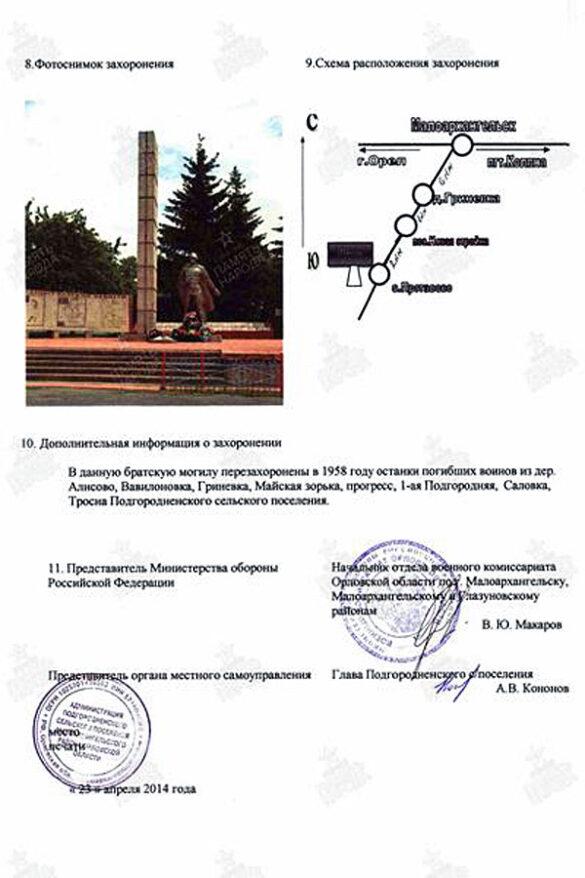 Информация по братской могиле села Протасово