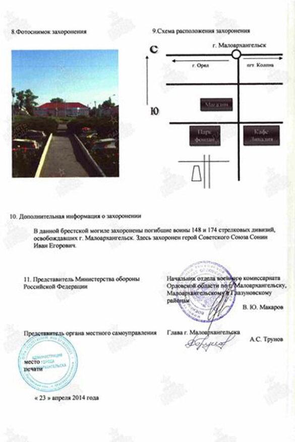 Информация по братской могиле в Парке Победы Малоархангельска